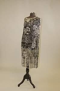 A black chiffon flapper dress, circa 1928, entire