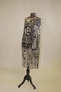 1011: A black chiffon flapper dress, circa 1928, entire