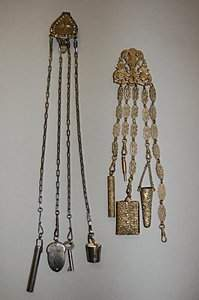 A pierced gilt metal chatelaine, late 19th centur