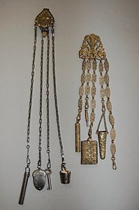 1020: A pierced gilt metal chatelaine, late 19th centur