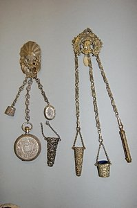 1021: Two pierced gilt metal chatelaines, late 19th cen