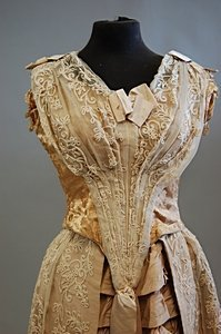 1097: A pink silk ball gown, early-mid 1880s, with two  - 6