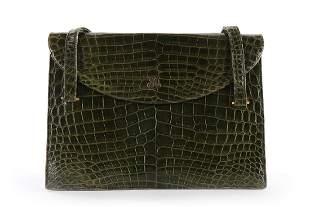 A Christian Dior green crocodile handbag, 1960s,