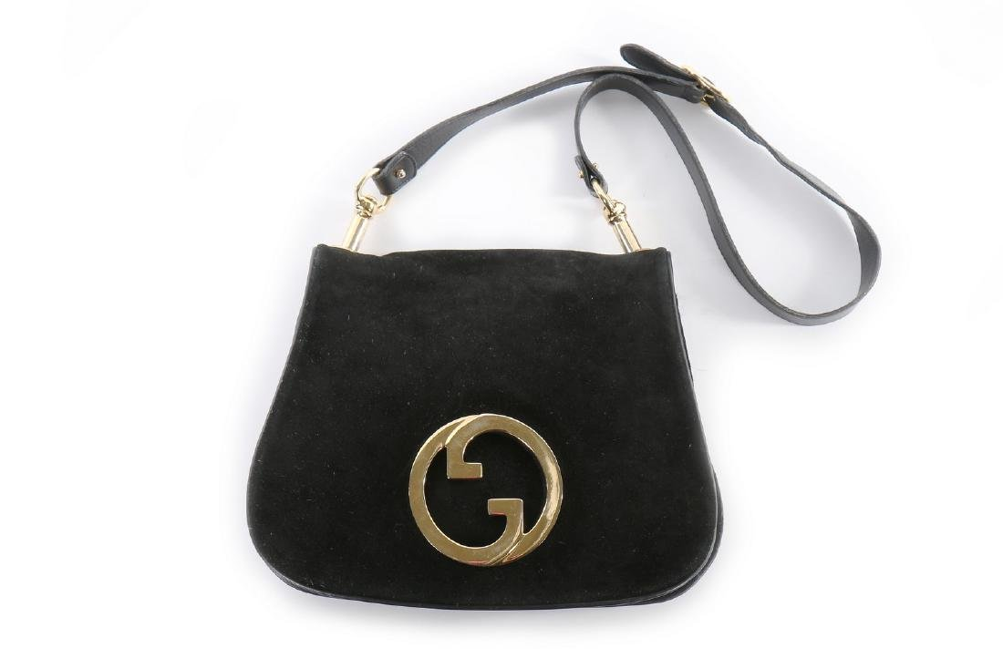 A Gucci black suede 'Blondie' shoulder bag, 1970s,