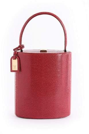 A Louis Vuitton 'Ophelie' red lizard skin vanity bag,