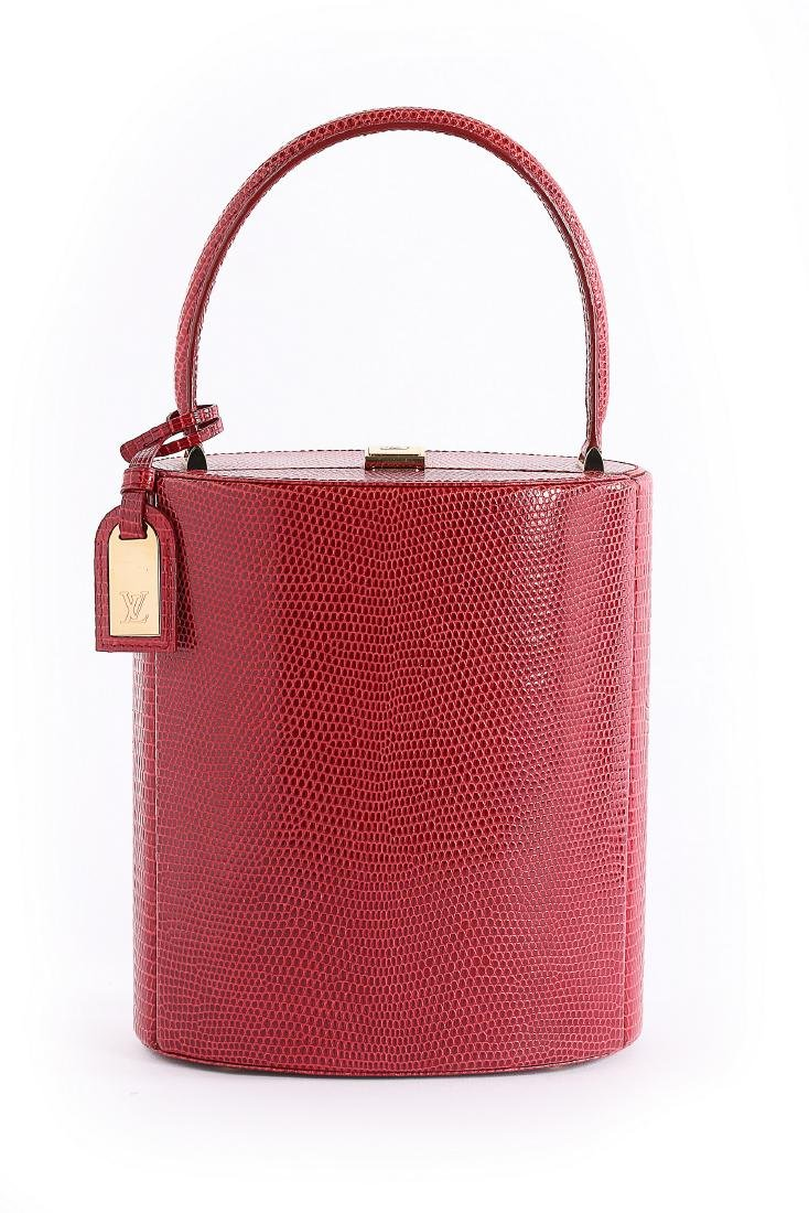 A Louis Vuitton 'Ophelie' red lizard skin vanity bag,