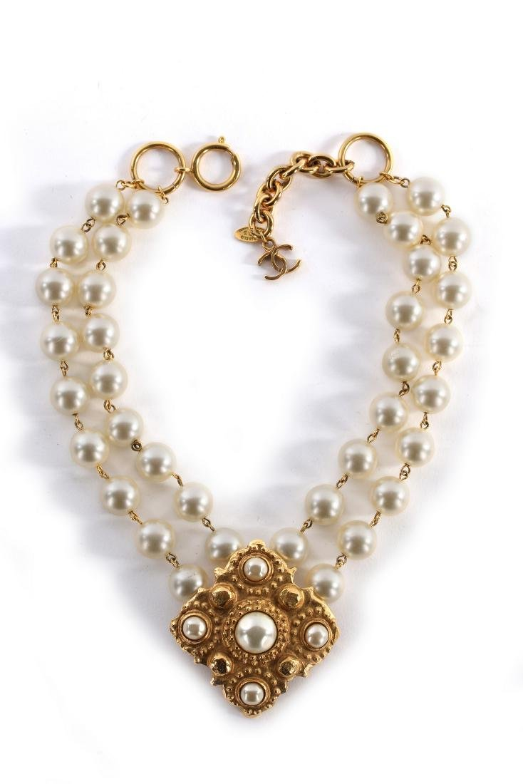 A Chanel pearl beaded choker necklace, 1983, signed and - 2