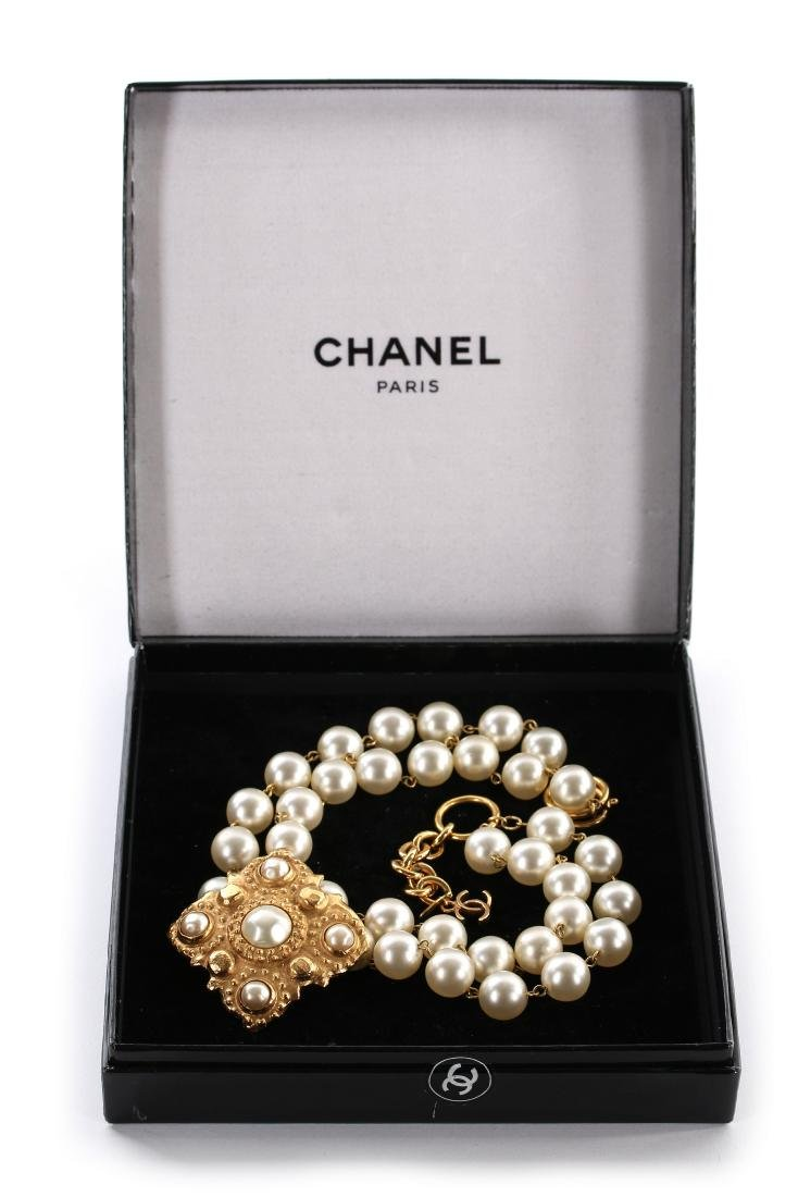 A Chanel pearl beaded choker necklace, 1983, signed and - 5