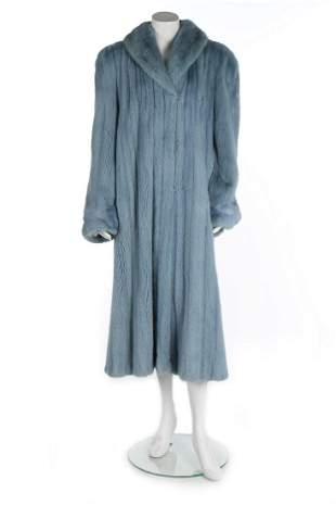 A reversible pale blue mink coat, 1990s, un-labelled,