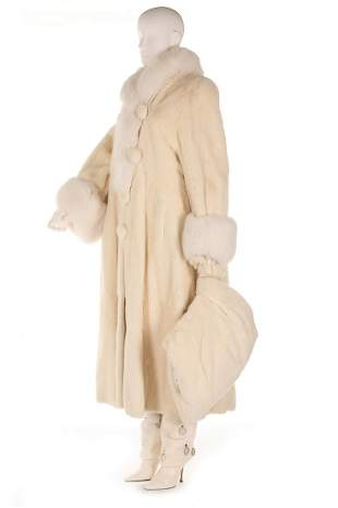 A white mink coat, probably 1990s, with fox-fur collar