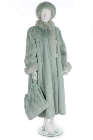 A mint-green mink and fox fur coat, 1990s, full length,