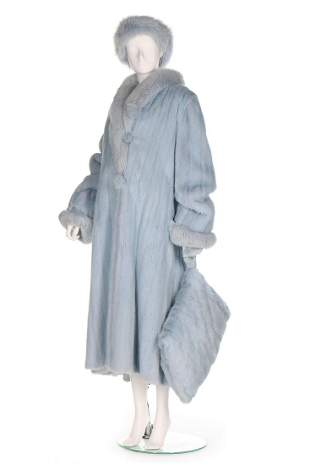 A baby blue mink coat, probably 1990s, of voluminous