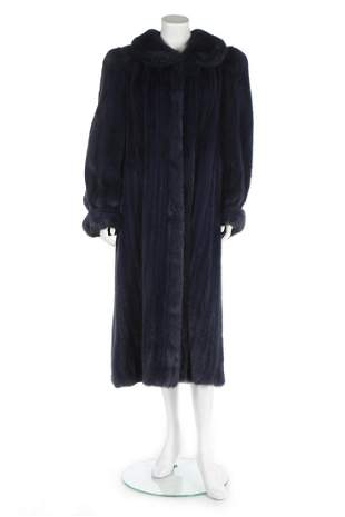 A Rolf Shulte navy mink coat, 1980s, labelled, full