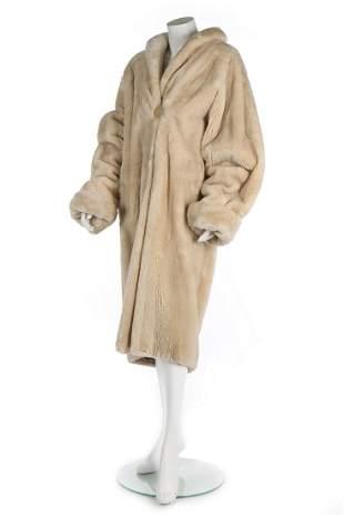 A Fendi ivory beaver lamb coat, probably 1990s,