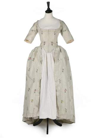 A fine embroidered dove-grey silk robe à l'Anglaise,