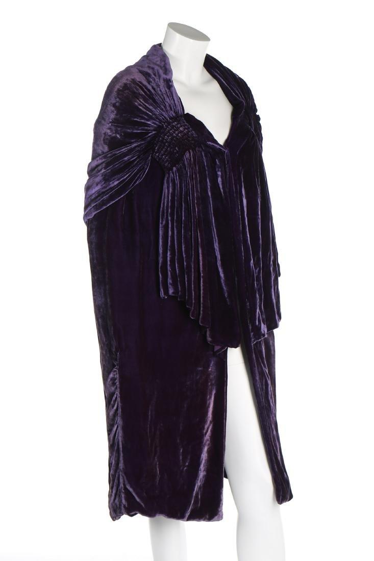 A Callot Soeurs couture purple velvet evening cape,