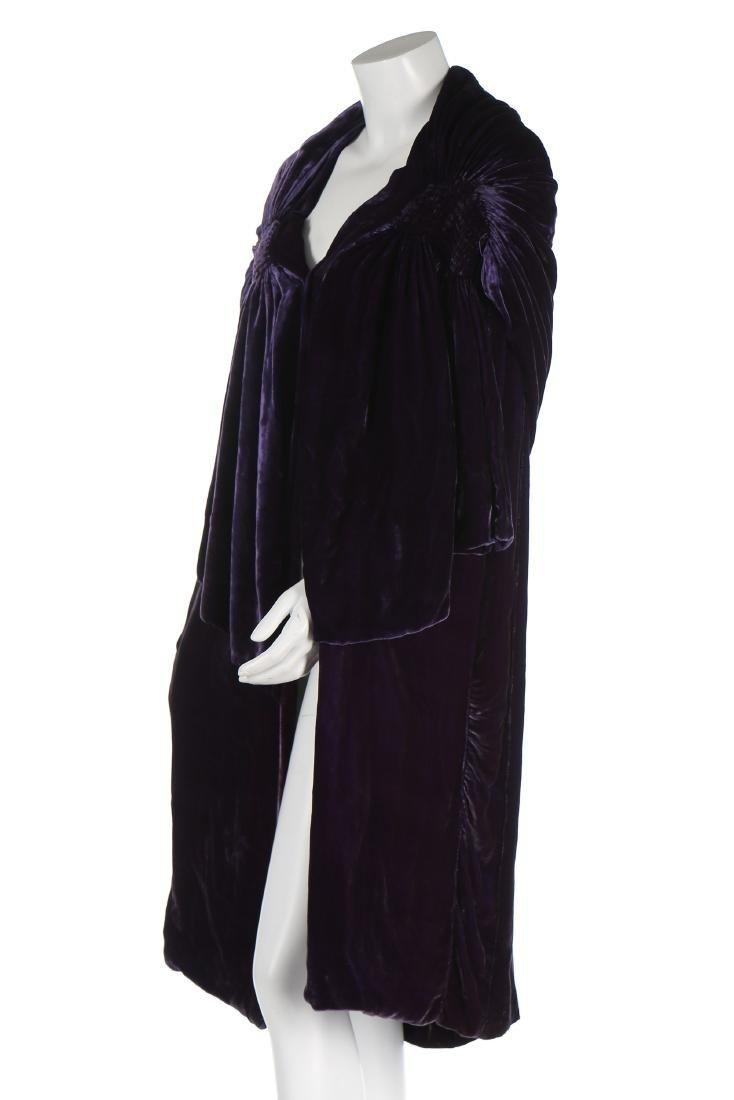 A Callot Soeurs couture purple velvet evening cape, - 2