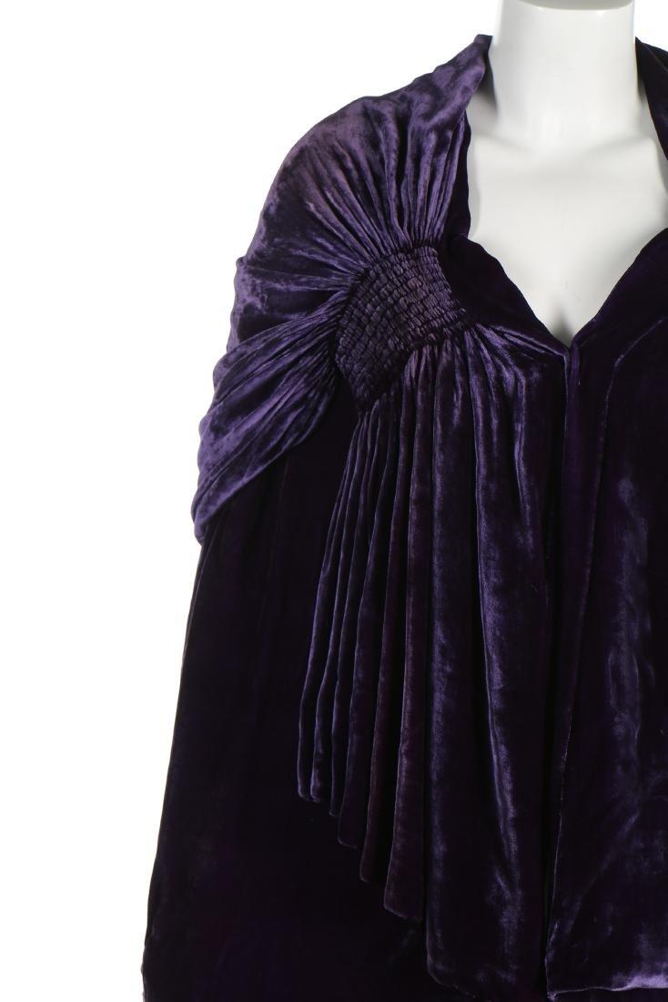 A Callot Soeurs couture purple velvet evening cape, - 4
