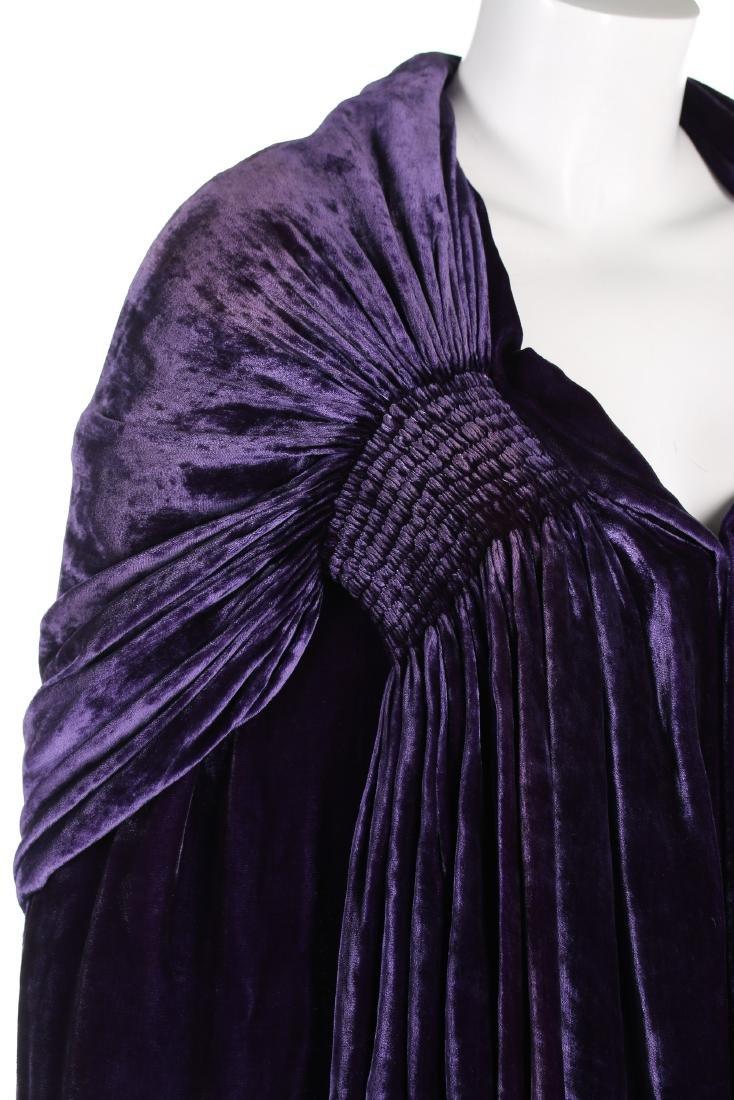 A Callot Soeurs couture purple velvet evening cape, - 5
