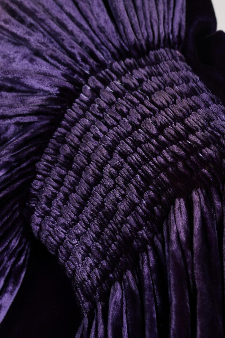 A Callot Soeurs couture purple velvet evening cape, - 6