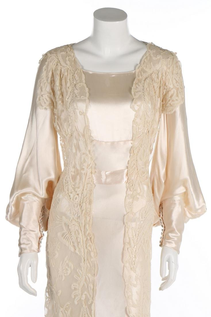 A bias-cut satin bridal gown, 1930s, with full, long - 4