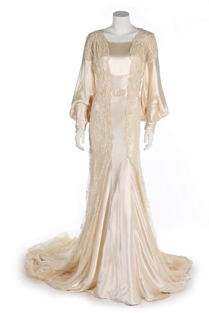 A bias-cut satin bridal gown, 1930s, with full, long - 7