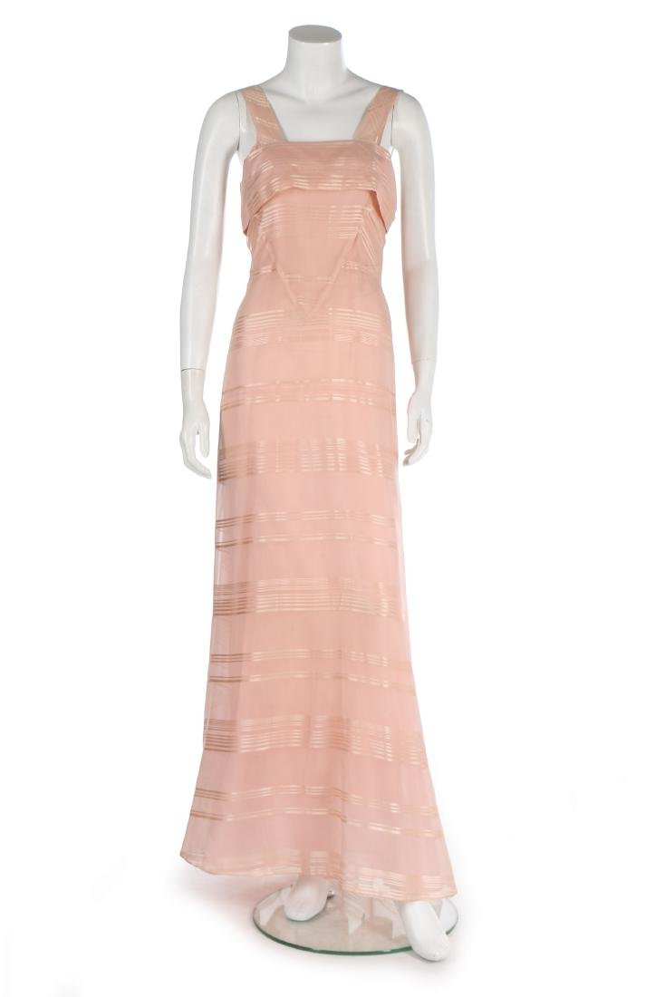 A Lucien Lelong couture self-striped pink organza