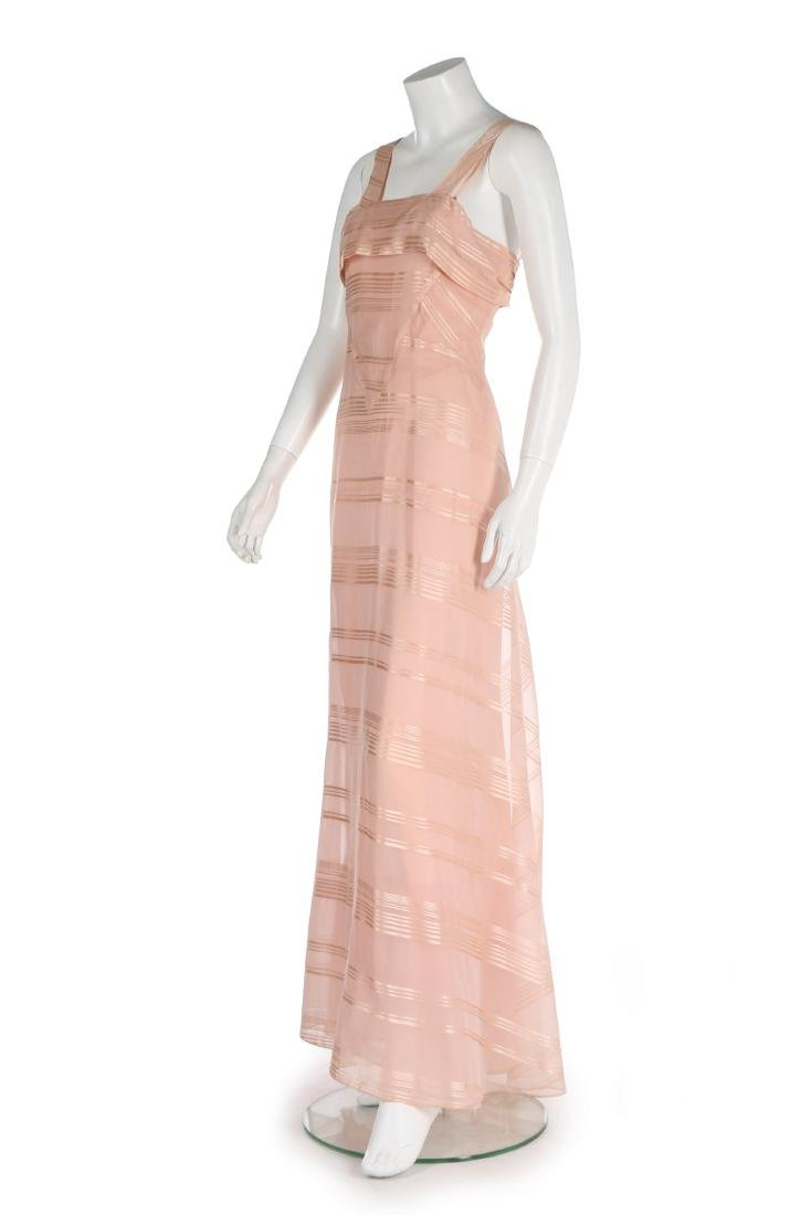 A Lucien Lelong couture self-striped pink organza - 2