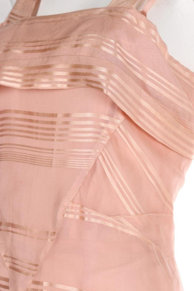 A Lucien Lelong couture self-striped pink organza - 5