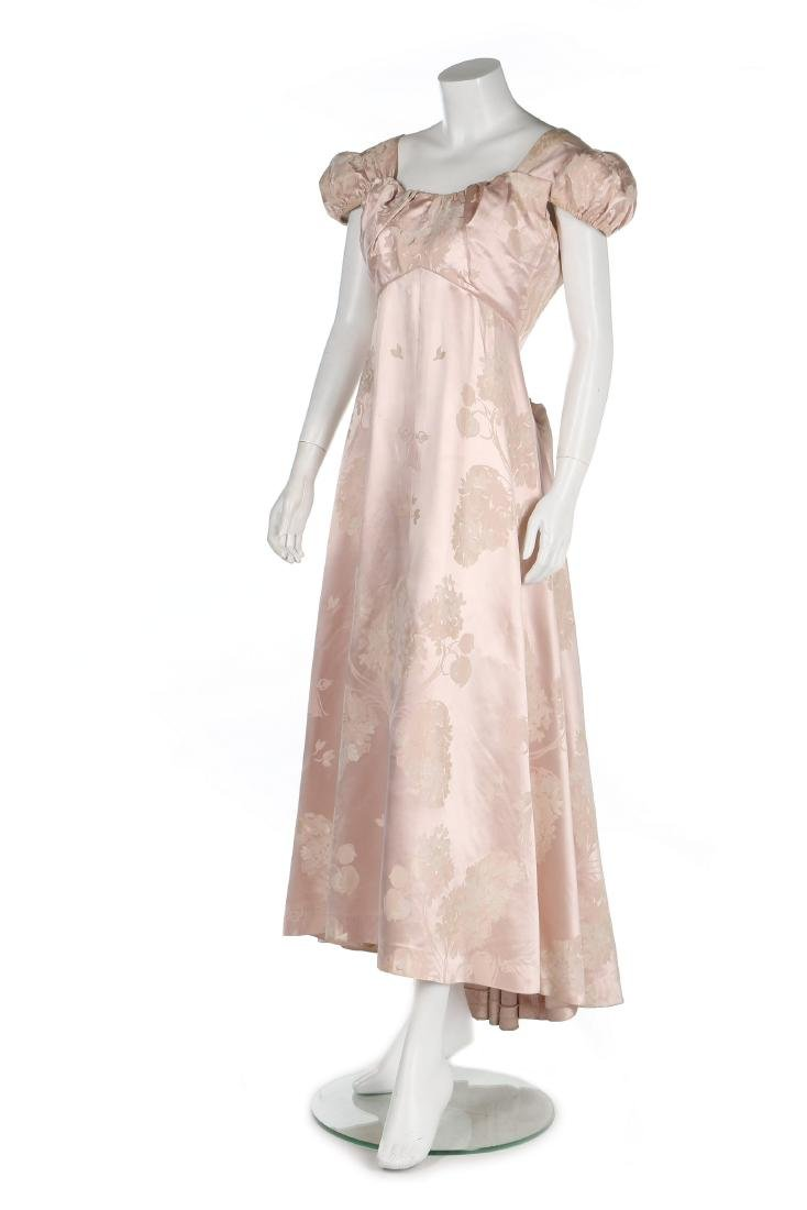 A Schiaparelli pink damask satin evening gown, early - 2