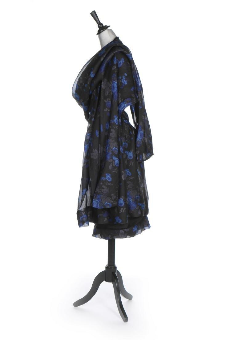 A Balenciaga couture printed black organza cocktail - 2