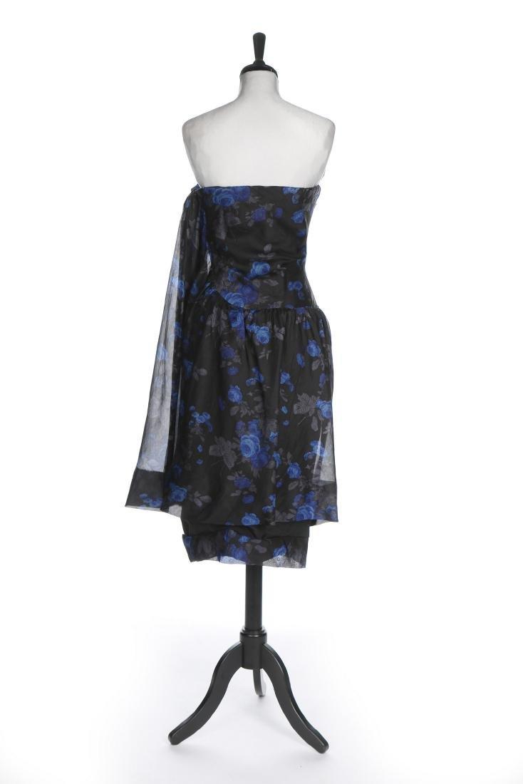 A Balenciaga couture printed black organza cocktail - 3