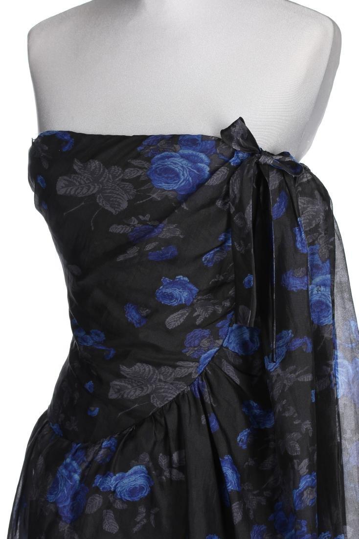 A Balenciaga couture printed black organza cocktail - 4
