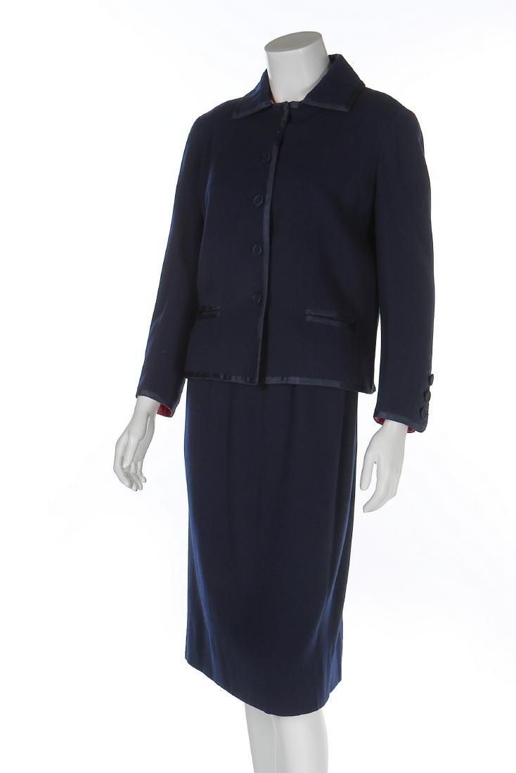 A Chanel couture navy moss crêpe suit, Autumn-Winter,