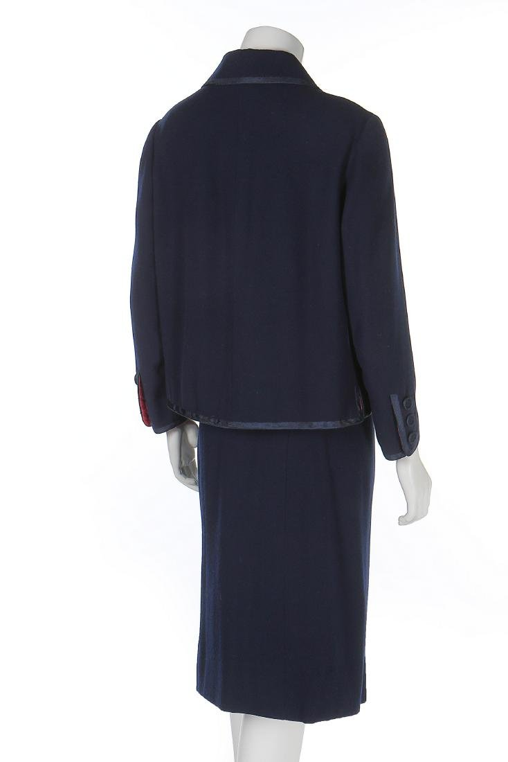 A Chanel couture navy moss crêpe suit, Autumn-Winter, - 2