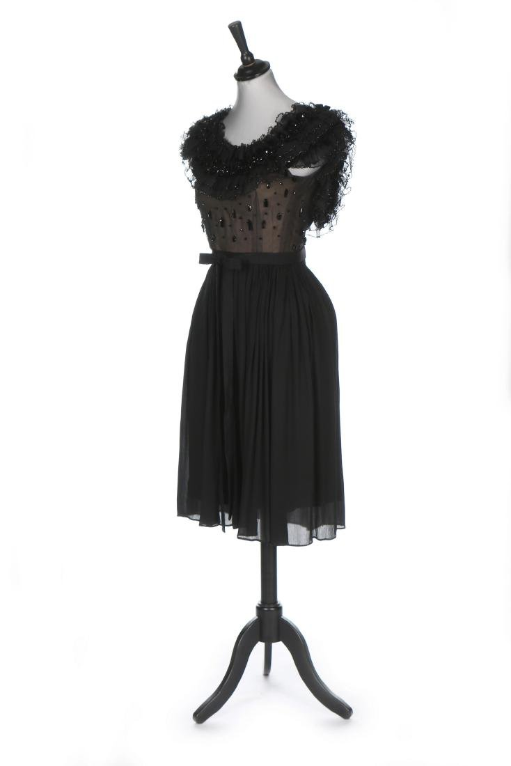 A Pierre Balmain couture black chiffon cocktail dress,