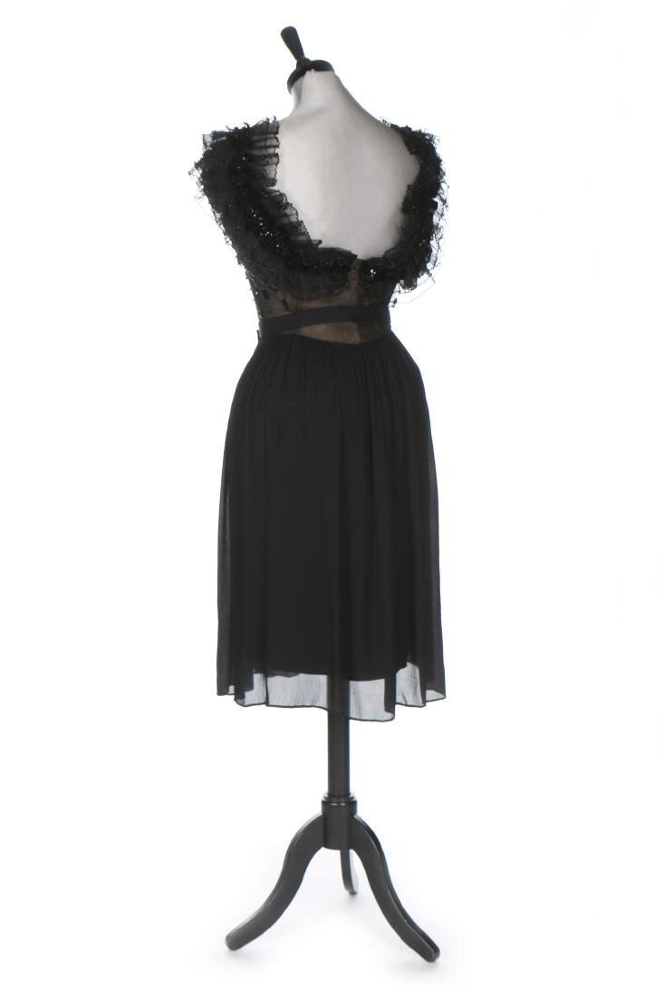 A Pierre Balmain couture black chiffon cocktail dress, - 2