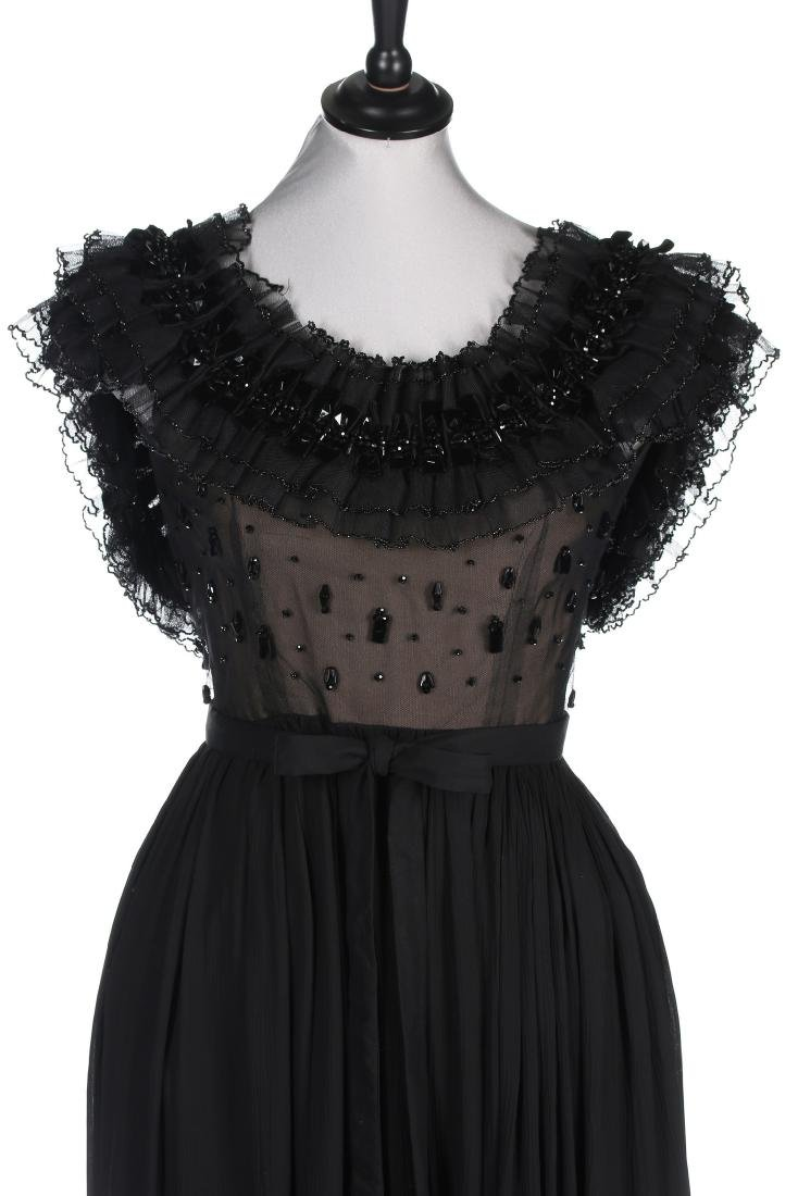 A Pierre Balmain couture black chiffon cocktail dress, - 3
