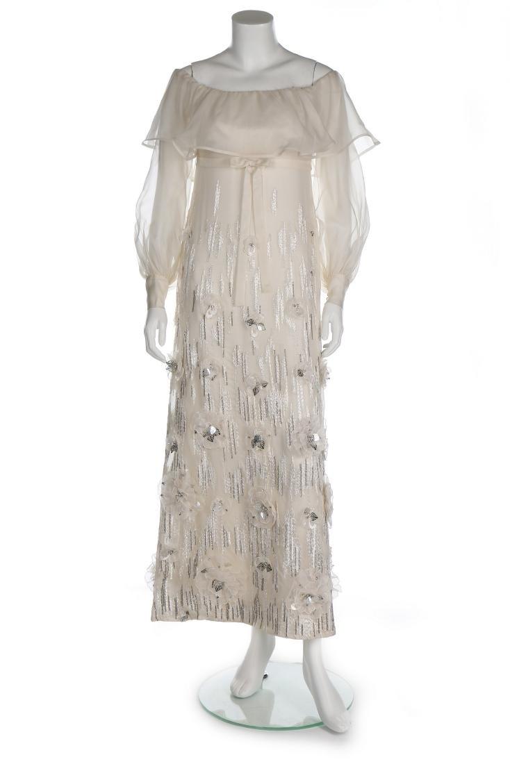 A Jean Patou couture white organza evening dress, circa