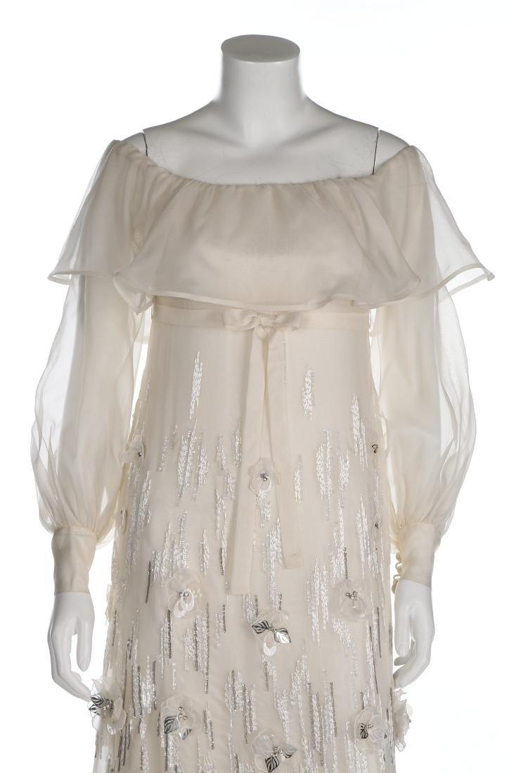 A Jean Patou couture white organza evening dress, circa - 4