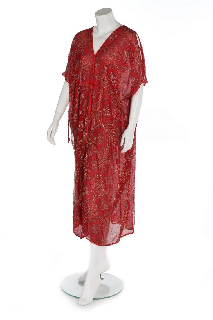A Thea Porter printed red chiffon kaftan/dress, 1970s,