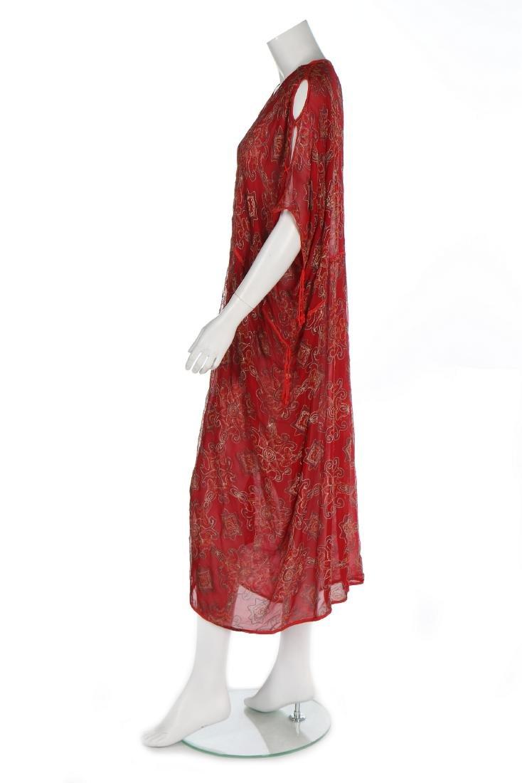 A Thea Porter printed red chiffon kaftan/dress, 1970s, - 2