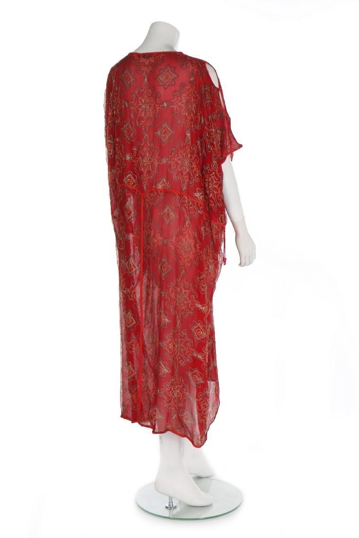 A Thea Porter printed red chiffon kaftan/dress, 1970s, - 3