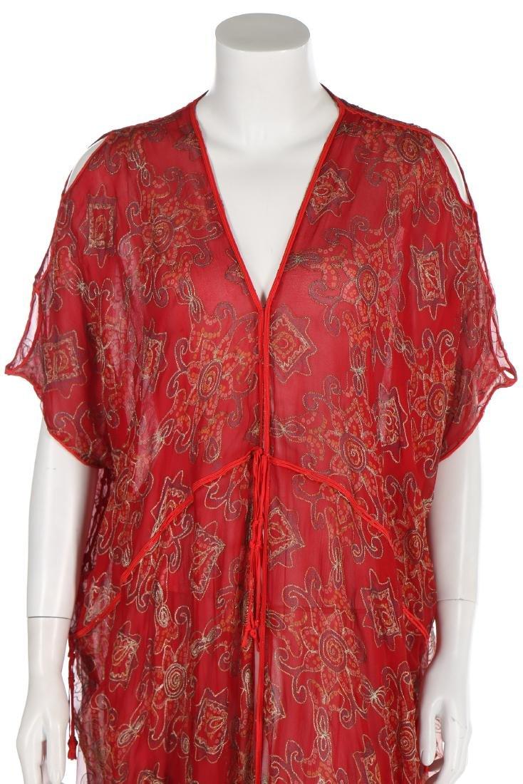 A Thea Porter printed red chiffon kaftan/dress, 1970s, - 4