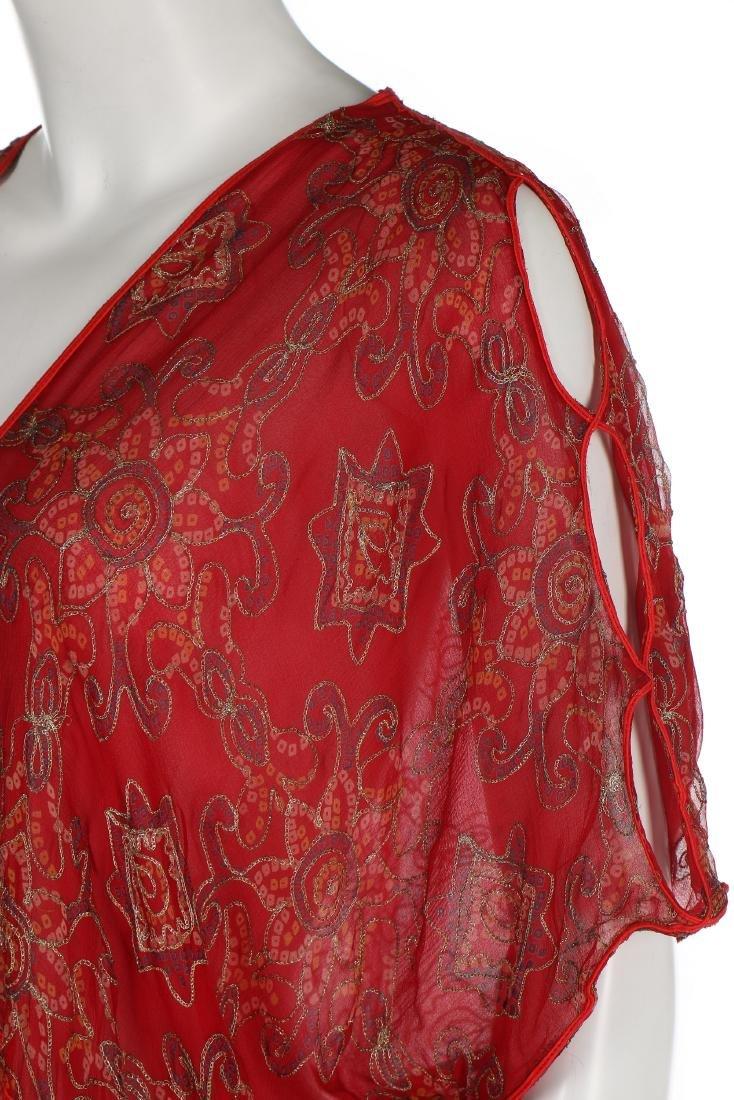 A Thea Porter printed red chiffon kaftan/dress, 1970s, - 5