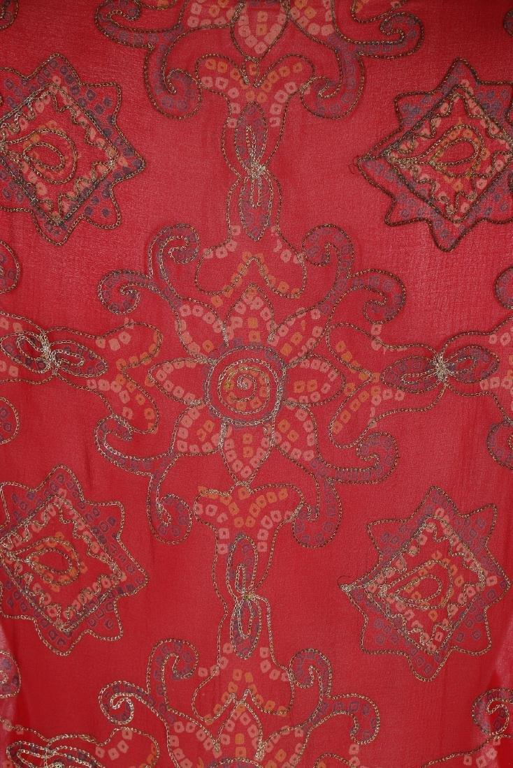 A Thea Porter printed red chiffon kaftan/dress, 1970s, - 6
