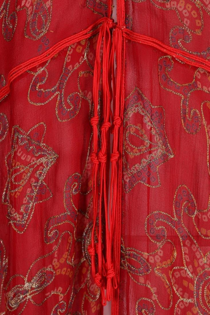 A Thea Porter printed red chiffon kaftan/dress, 1970s, - 7