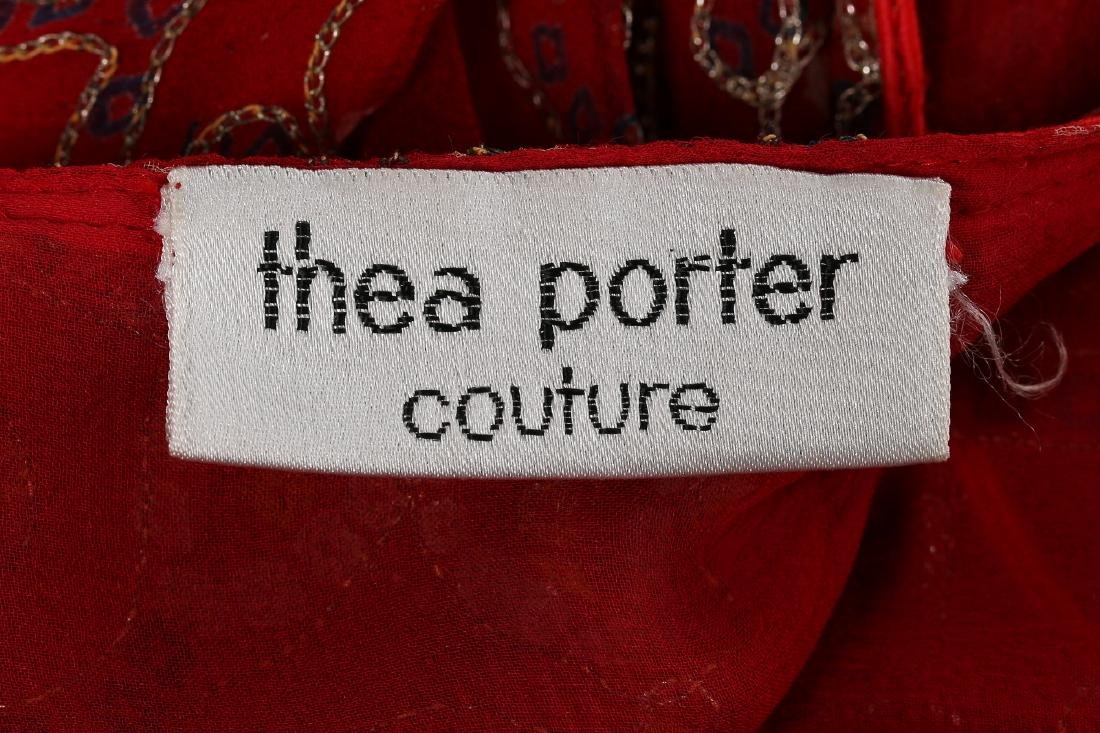 A Thea Porter printed red chiffon kaftan/dress, 1970s, - 8