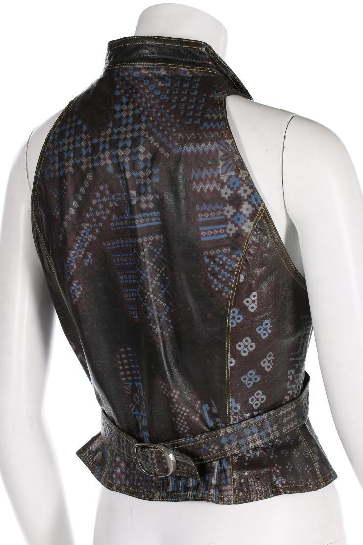 A rare Bill Gibb printed leather waistcoat, circa 1972, - 2