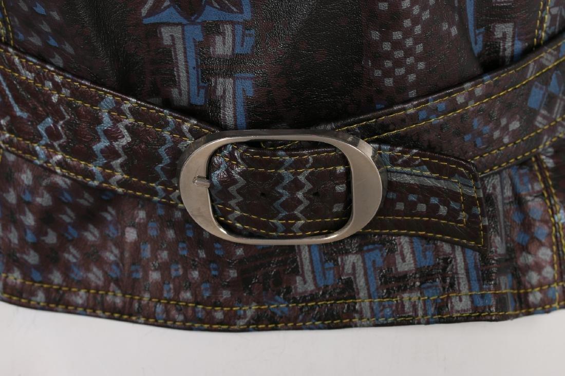 A rare Bill Gibb printed leather waistcoat, circa 1972, - 6